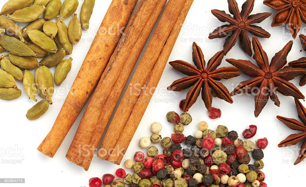 Assortment spices on white background stock photo