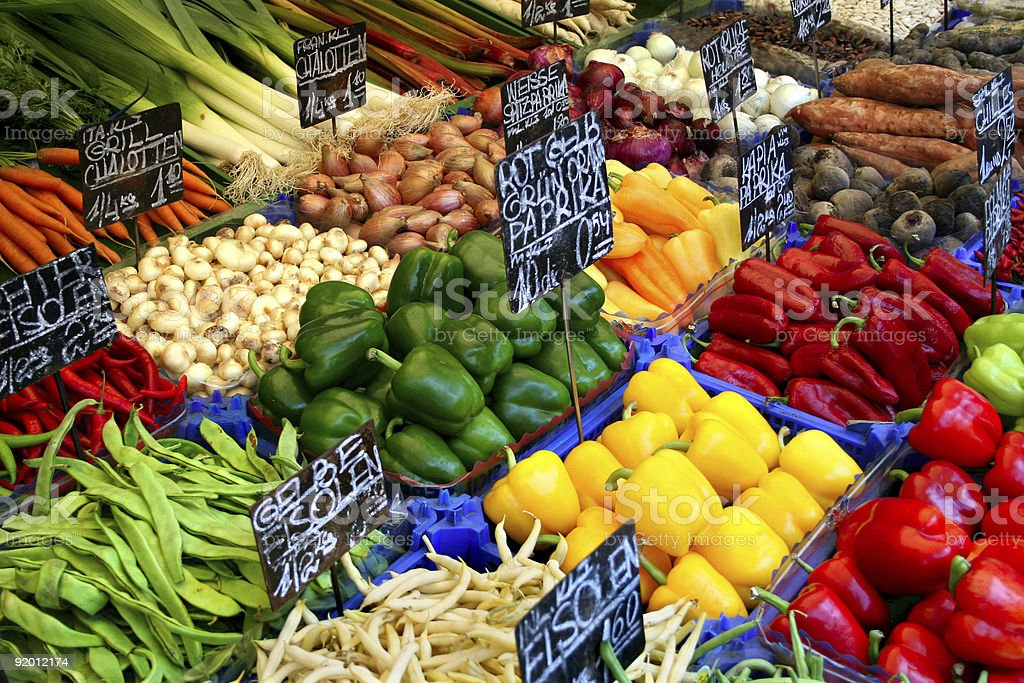 Assortment vegetables in a market royalty-free stock photo