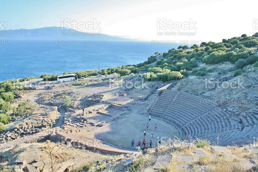 Assos ancient theatre stock photo