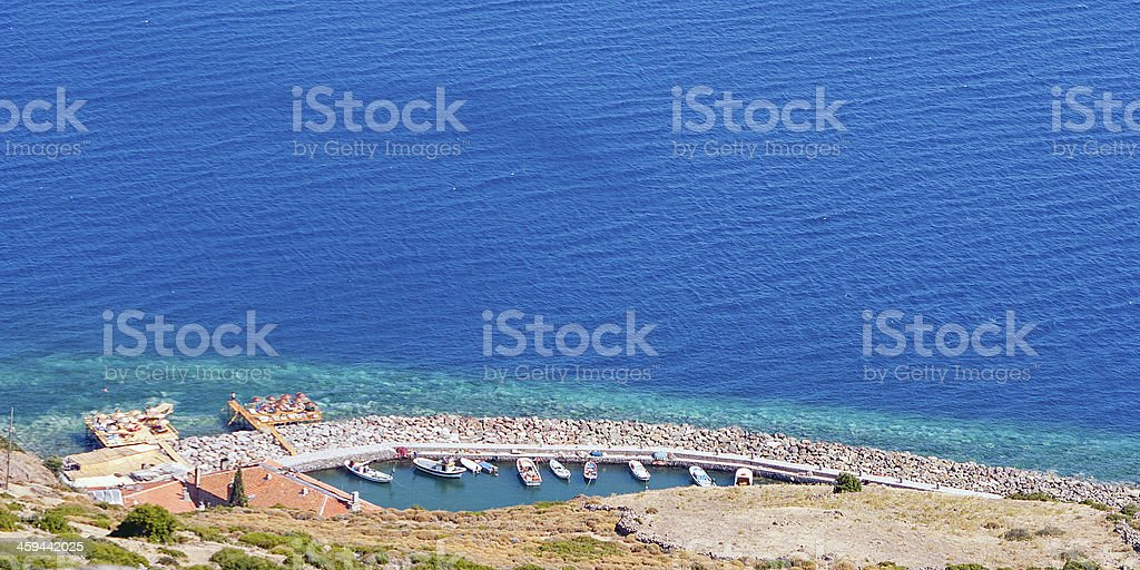 Assos harbor high angle view royalty-free stock photo