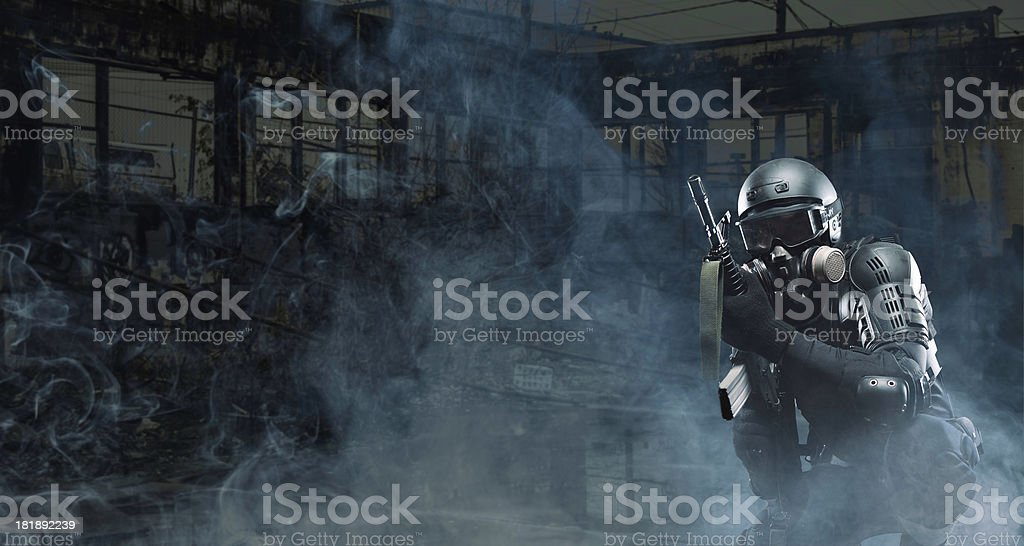 Assult Rifle terrorist post apocalypse soldier AR-15 royalty-free stock photo