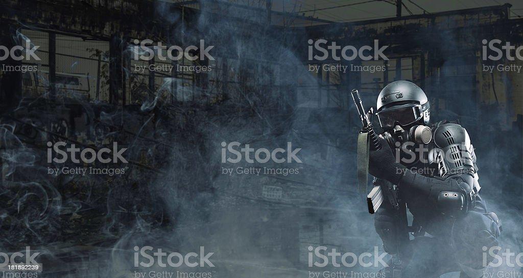 Assult Rifle terrorist post apocalypse soldier AR-15 stock photo
