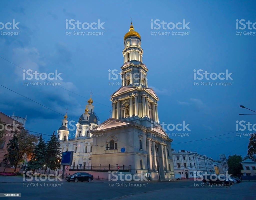 Assumption Cathedral at night, Kharkiv. royalty-free stock photo