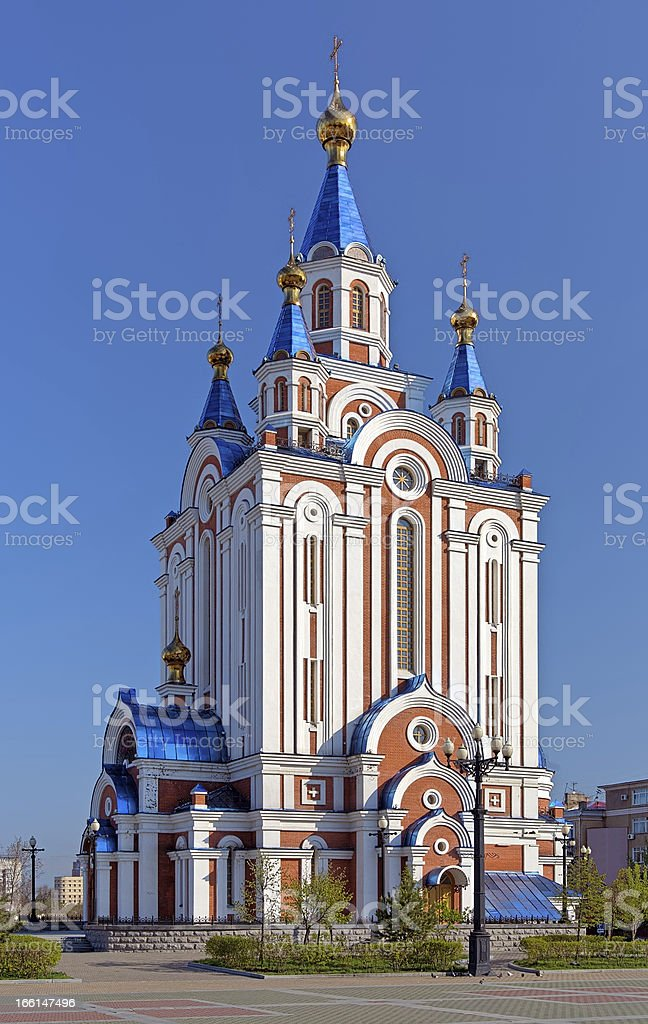 Assumption Cathedral in Khabarovsk, Russia stock photo