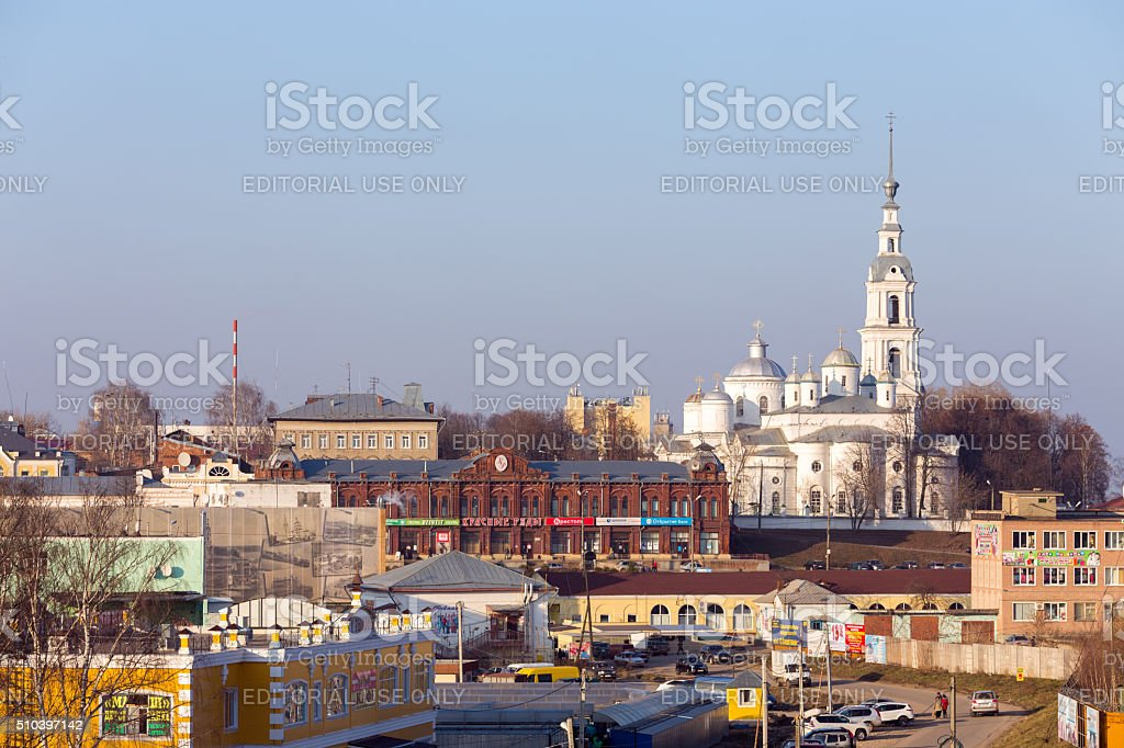 Assumption Cathedral, Trinity Cathedral and Belfry in Kineshma. stock photo