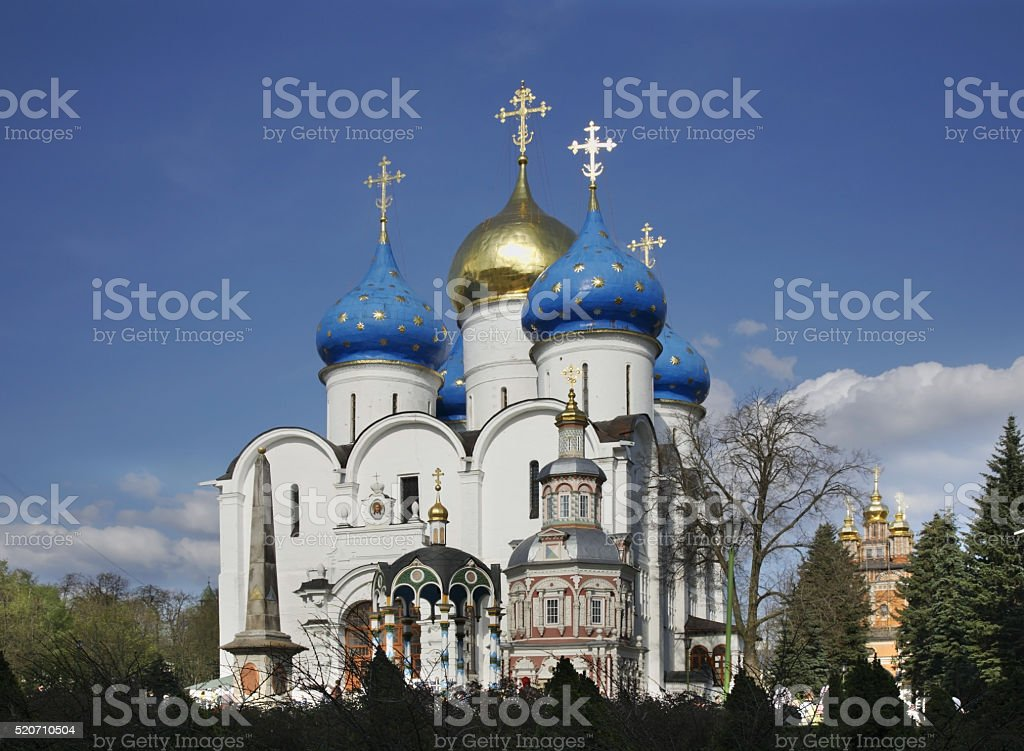 Assumption Cathedral Trinity Lavra in Sergiyev Posad. Russia stock photo