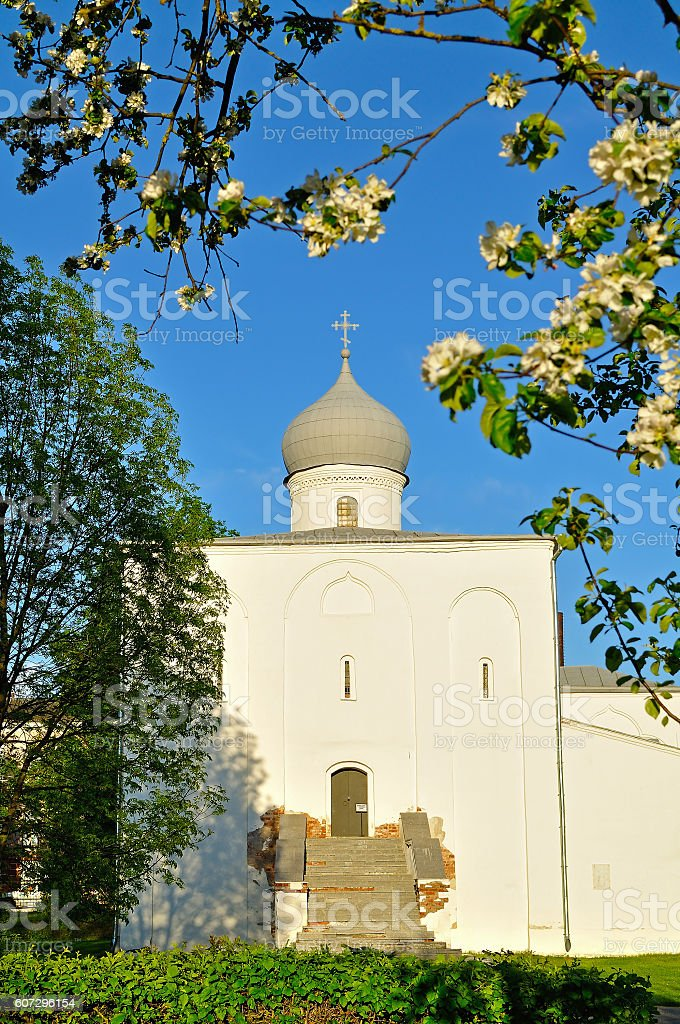 Assumption Church at the Yaroslav Courtyard in Veliky Novgorod, Russia stock photo