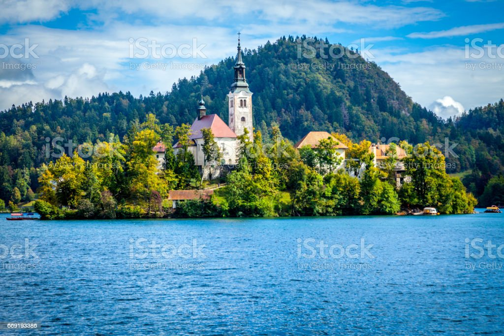 Assumption of Mary Church, Bled Island,Lake Bled, Slovenia stock photo