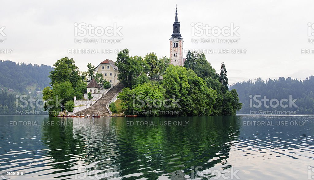 Assumption of Mary Pilgrimage Church in Lake Bled Slovenia stock photo