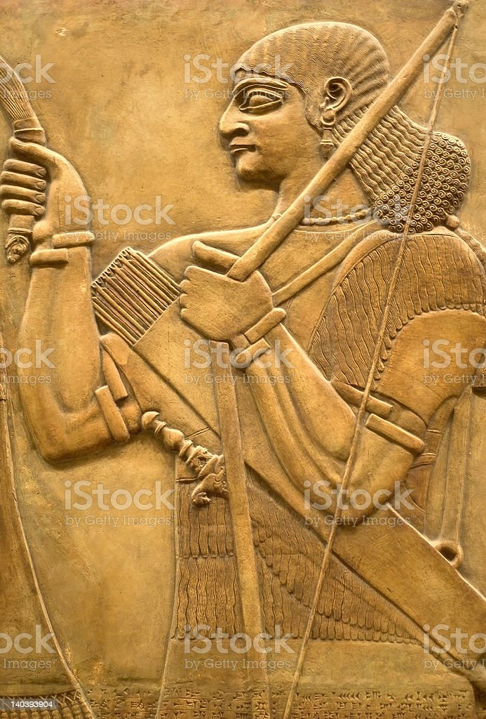 Assyrian fresco on the wall stock photo