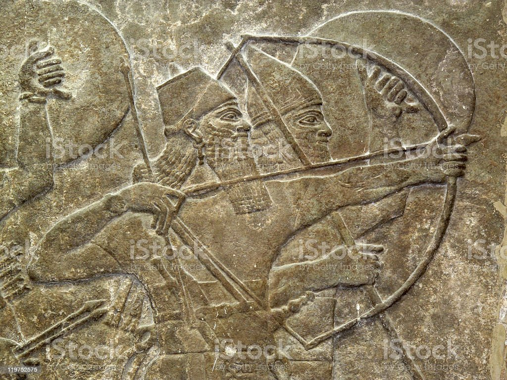 Assyrian Soldiers In Battle stock photo