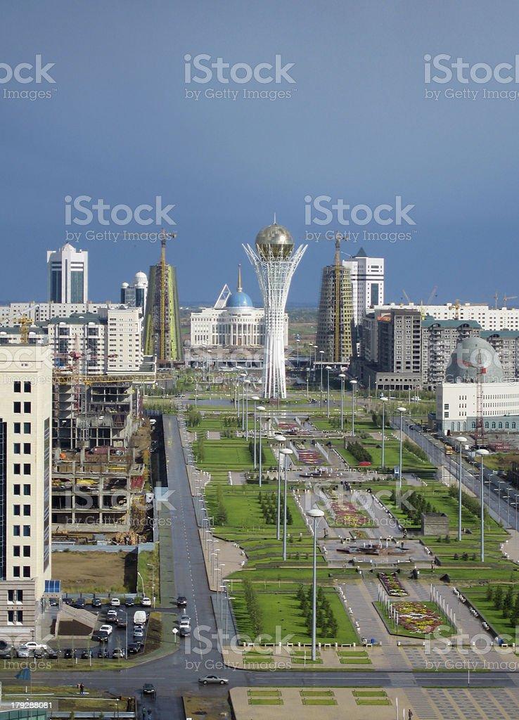 Astana city. Bayterek tower. Panoramic view stock photo