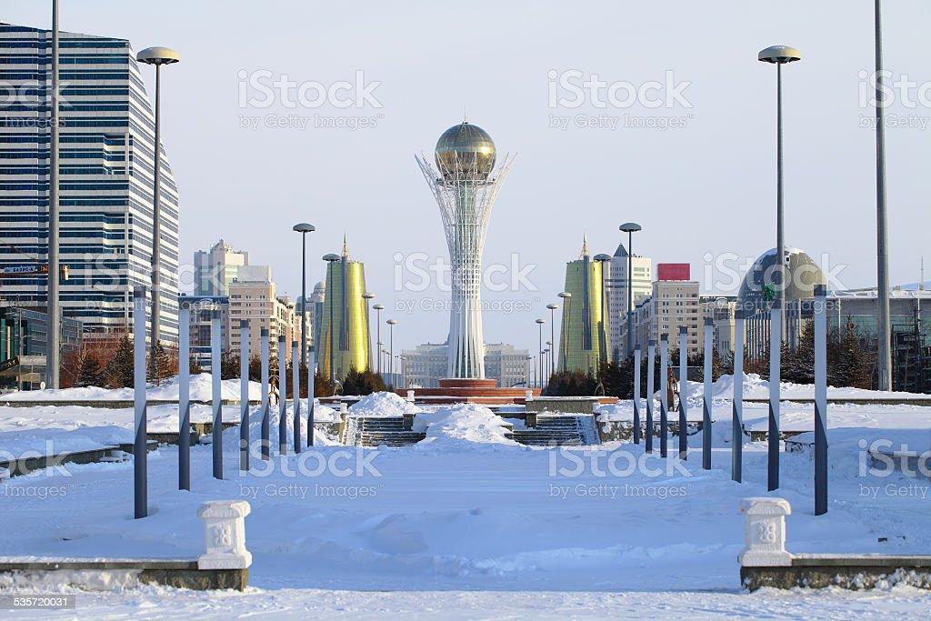 Astana in winter day. stock photo