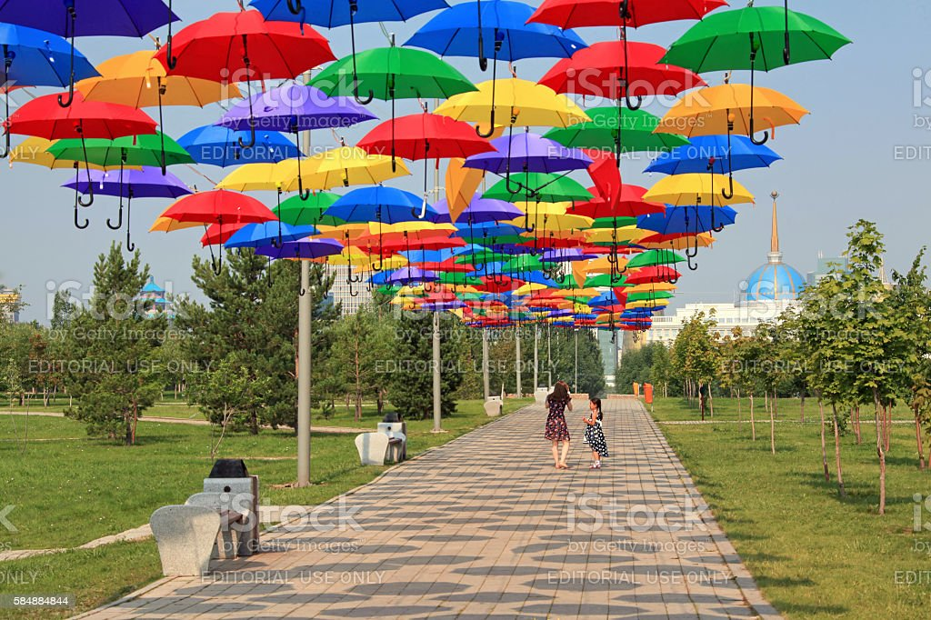 Astana Multicolored Umbrellas stock photo