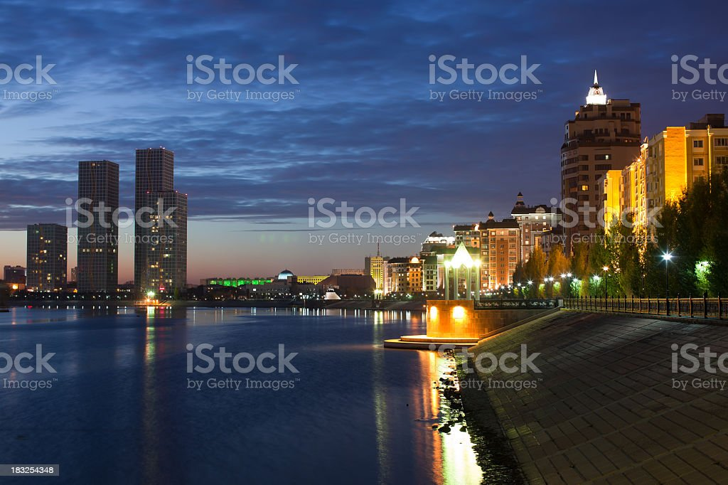 Astana Night and river reflections royalty-free stock photo