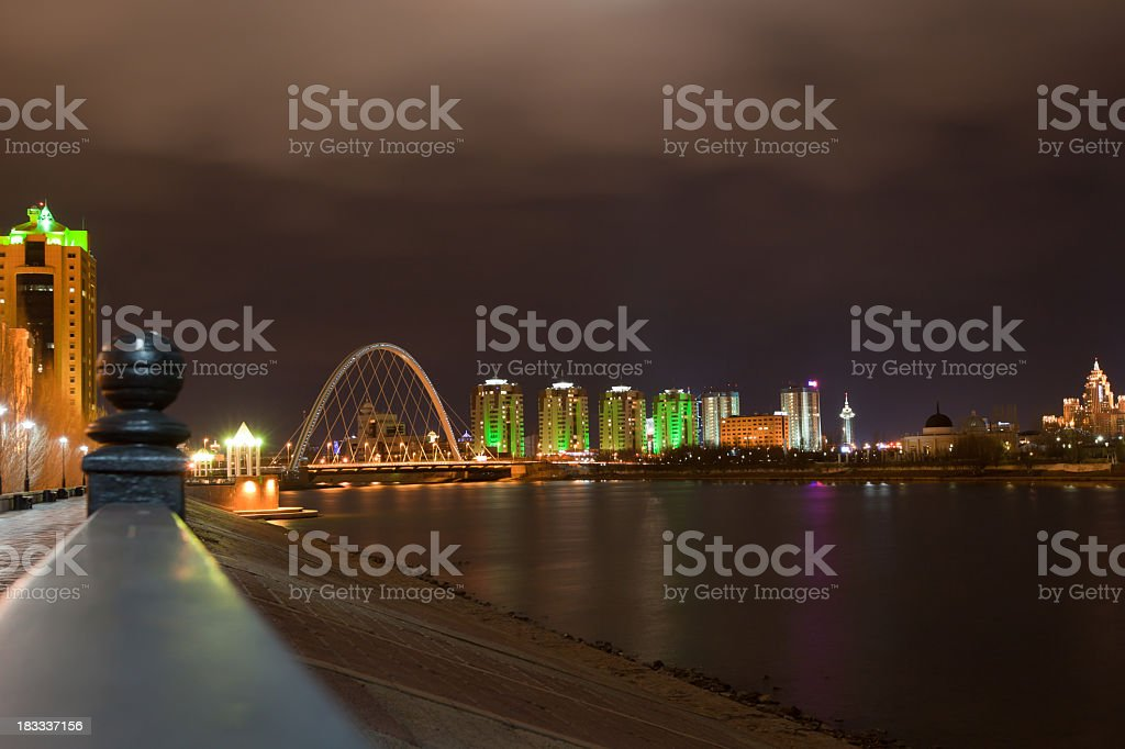 Astana Night and river reflections: with Wide Angle Lens stock photo