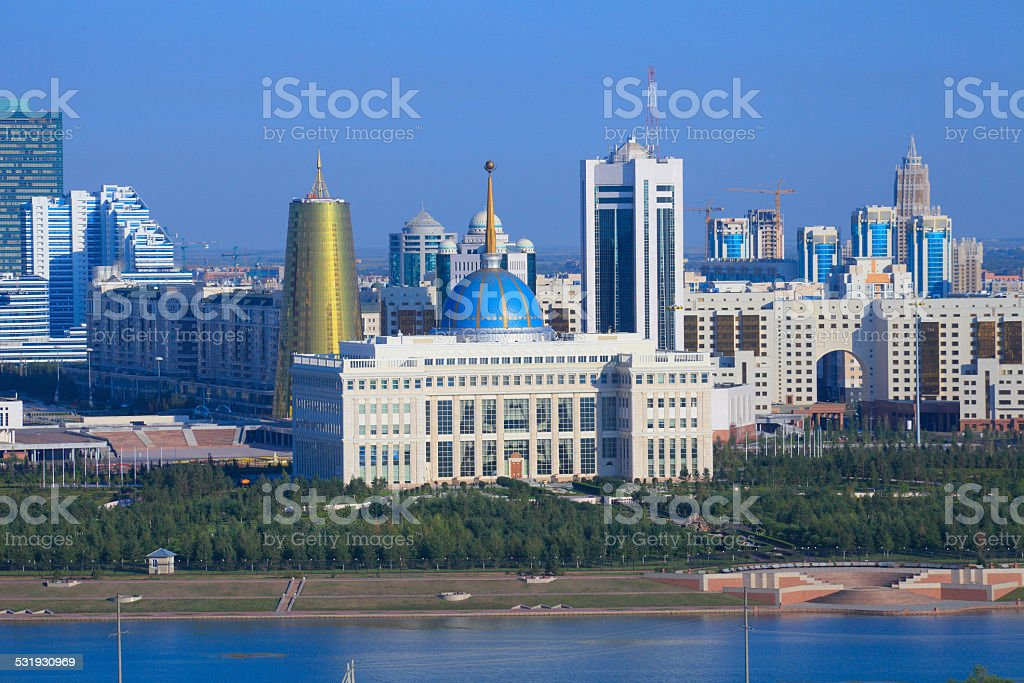Astana. The central part of the city. embankment stock photo