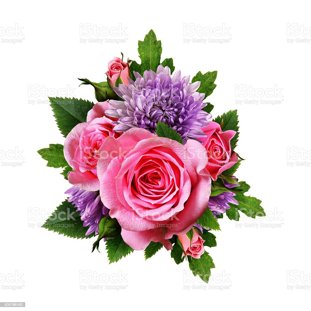 Aster And Rose Flowers Bouquet Stock Photo 520766162 Istock