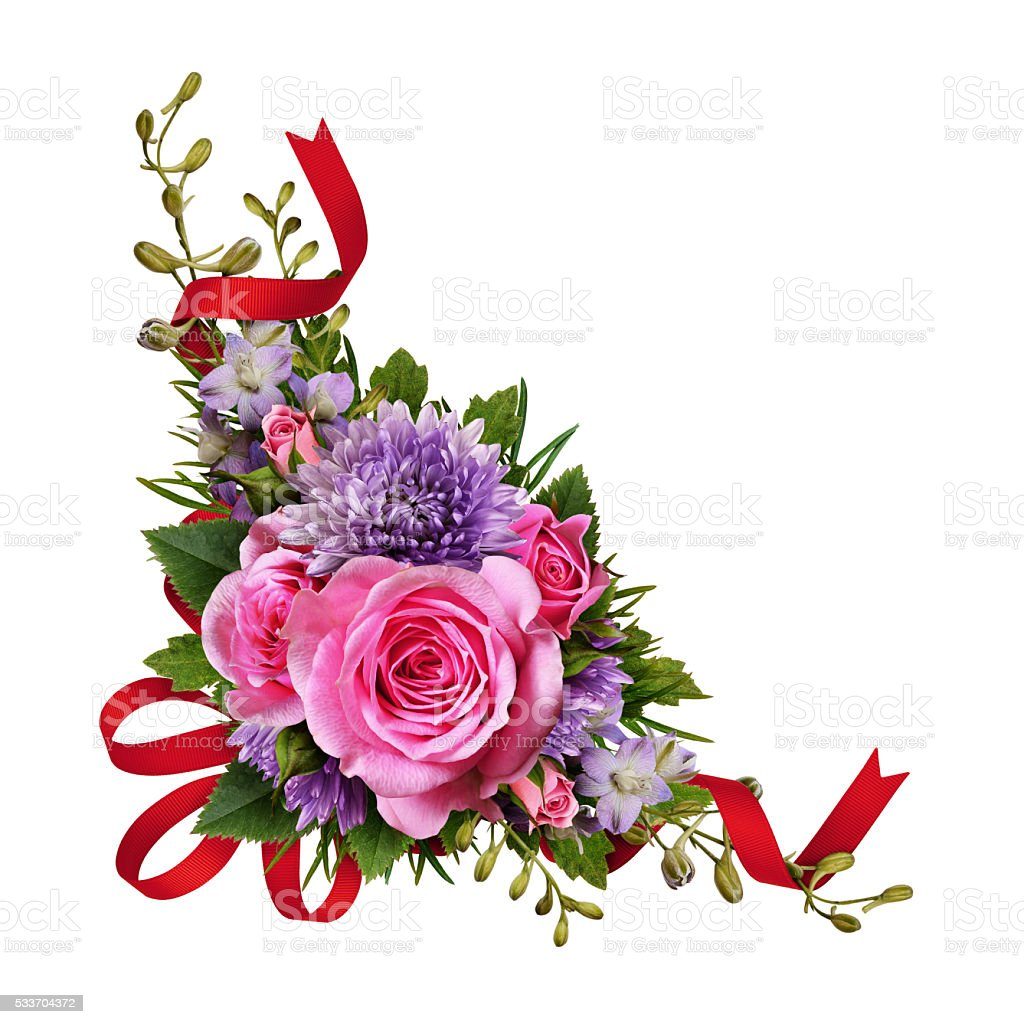Aster and rose flowers corner arrangement with red silk ribbon stock photo