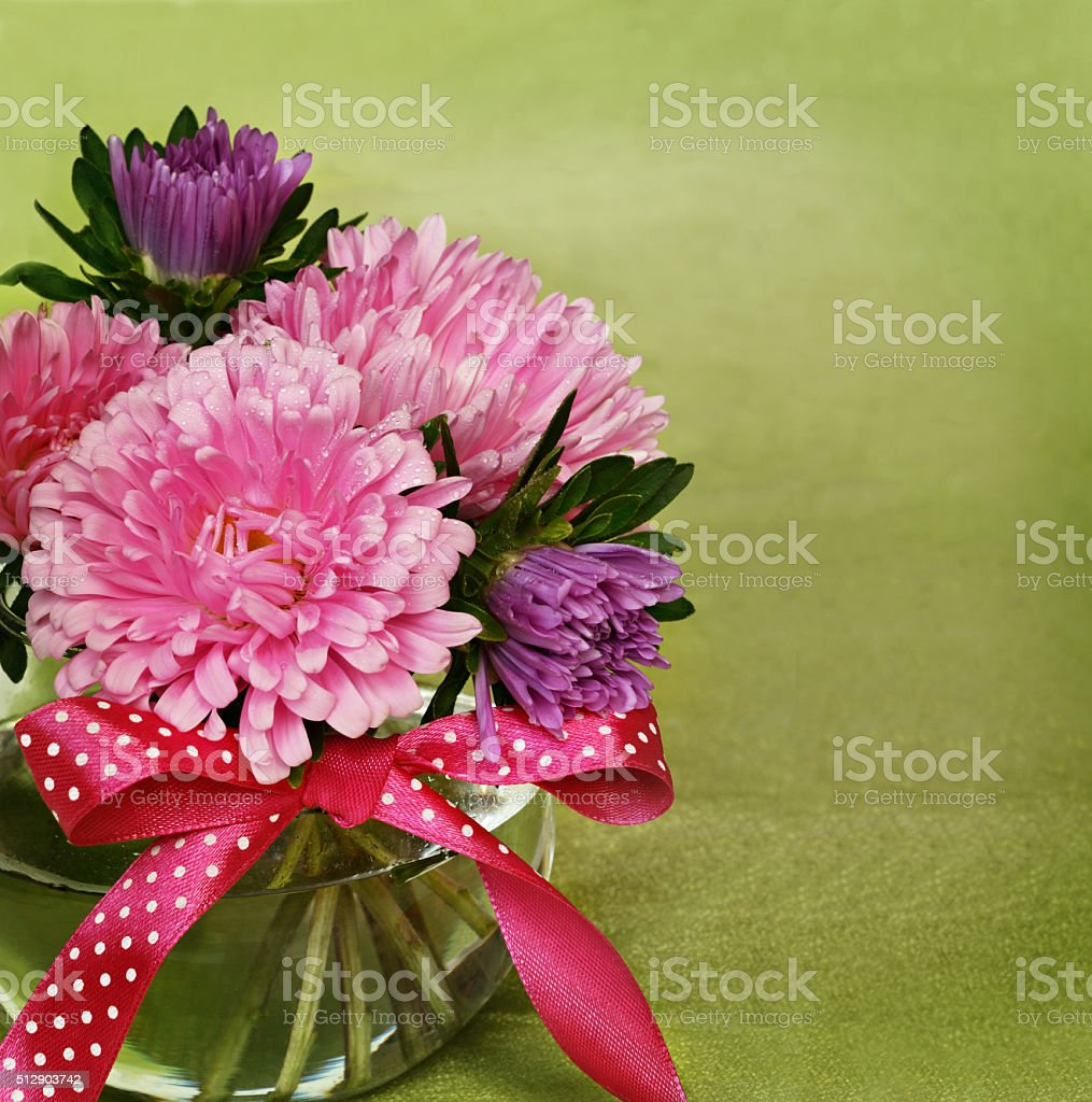 Aster flowers in a vase stock photo