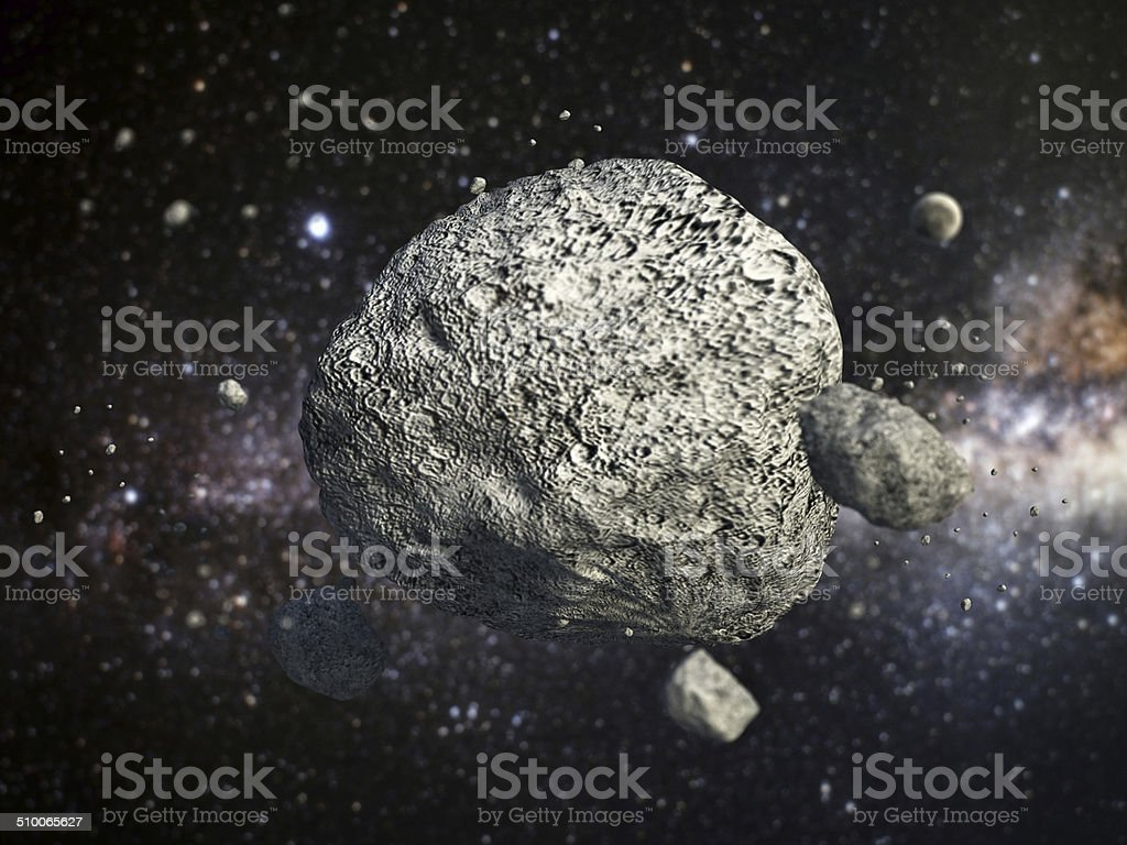 Astereoid in the space stock photo
