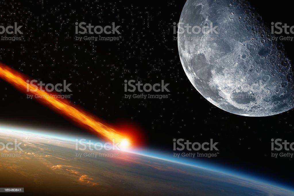 Asteriod impact stock photo