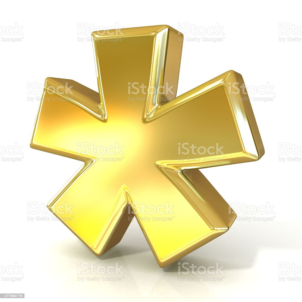 Asterisk mark, 3d golden sign isolated stock photo