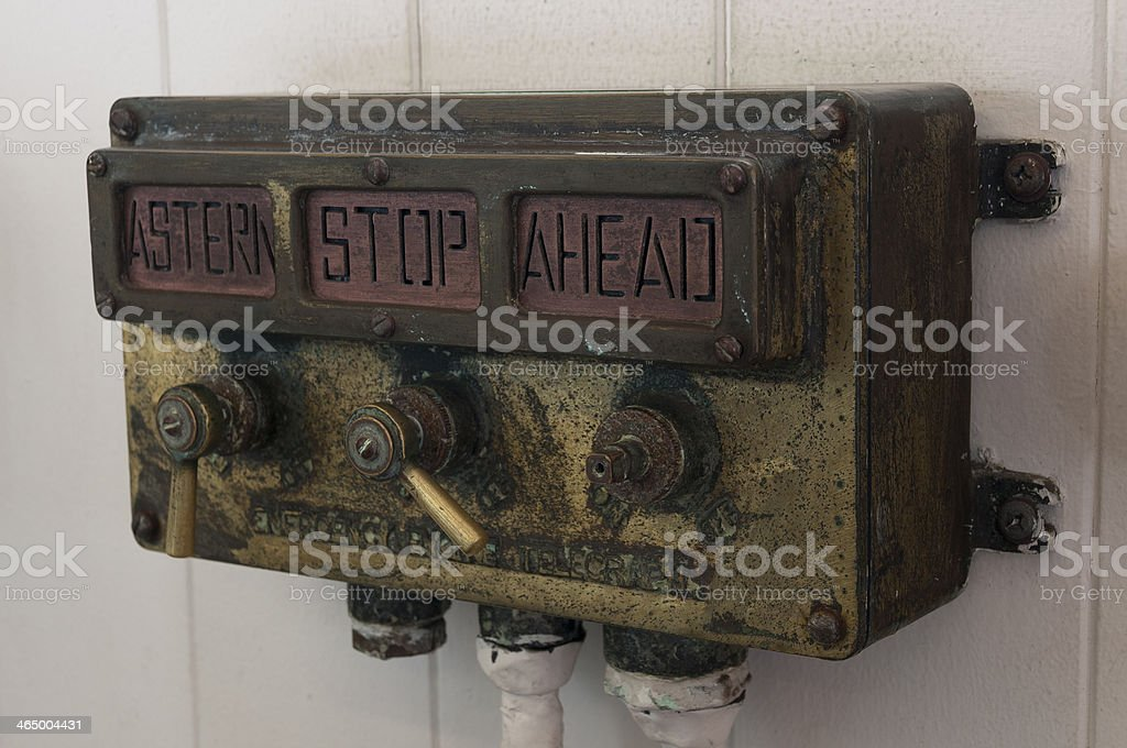 Astern, stop and ahead signalizator stock photo
