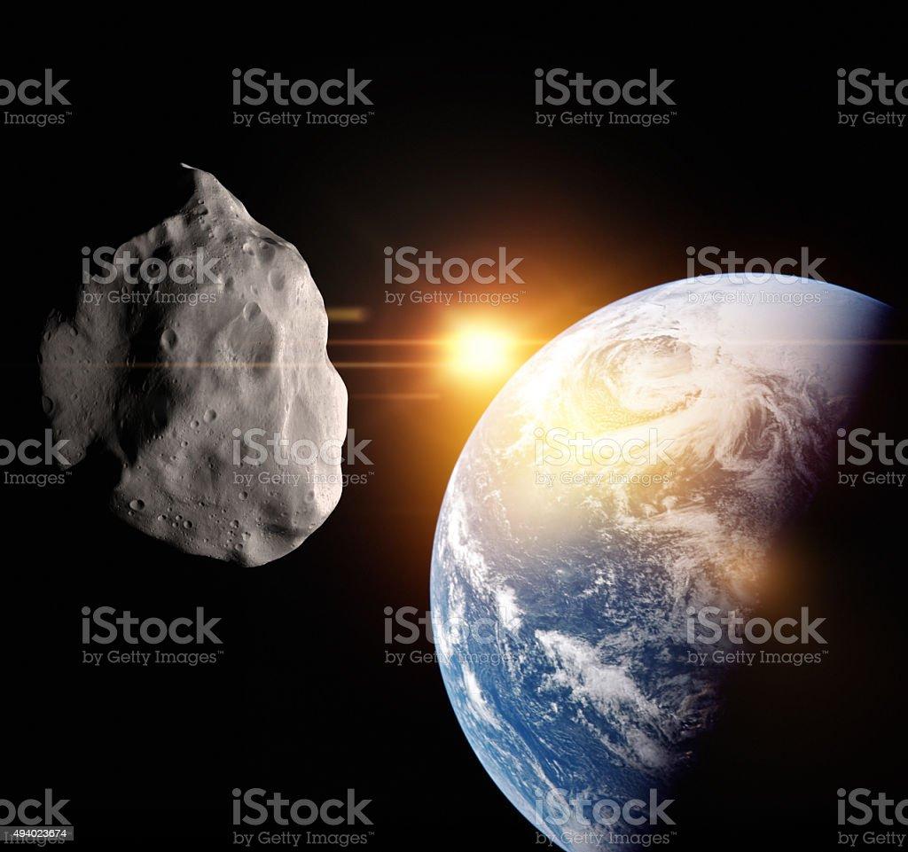 Asteroid flight at Earth stock photo