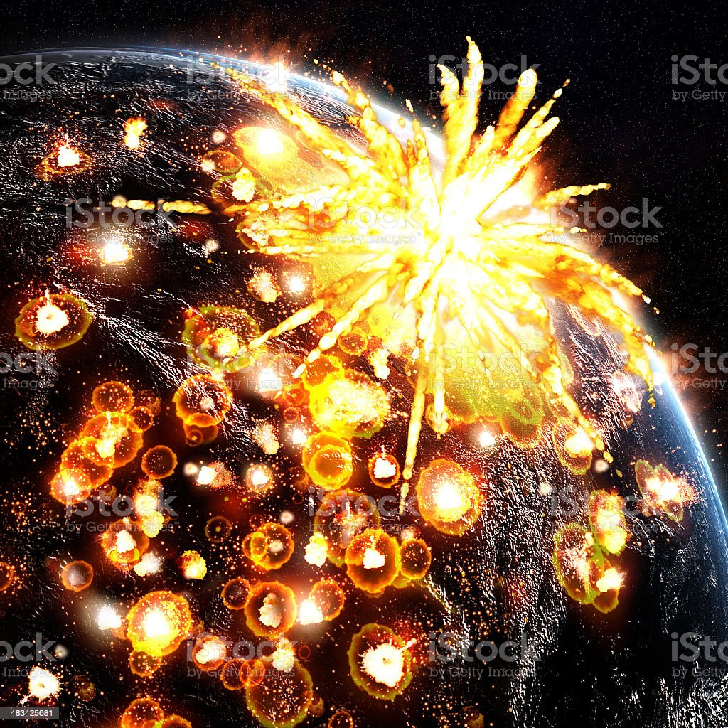 Asteroid Impacts on Planet royalty-free stock photo