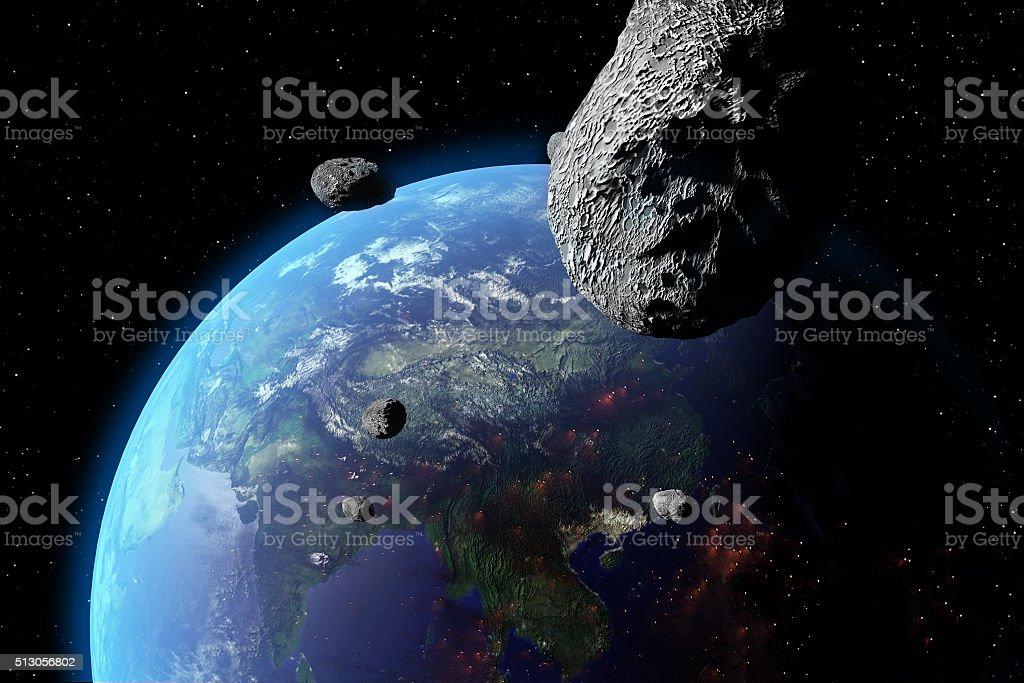 Asteroid Nears Earth stock photo