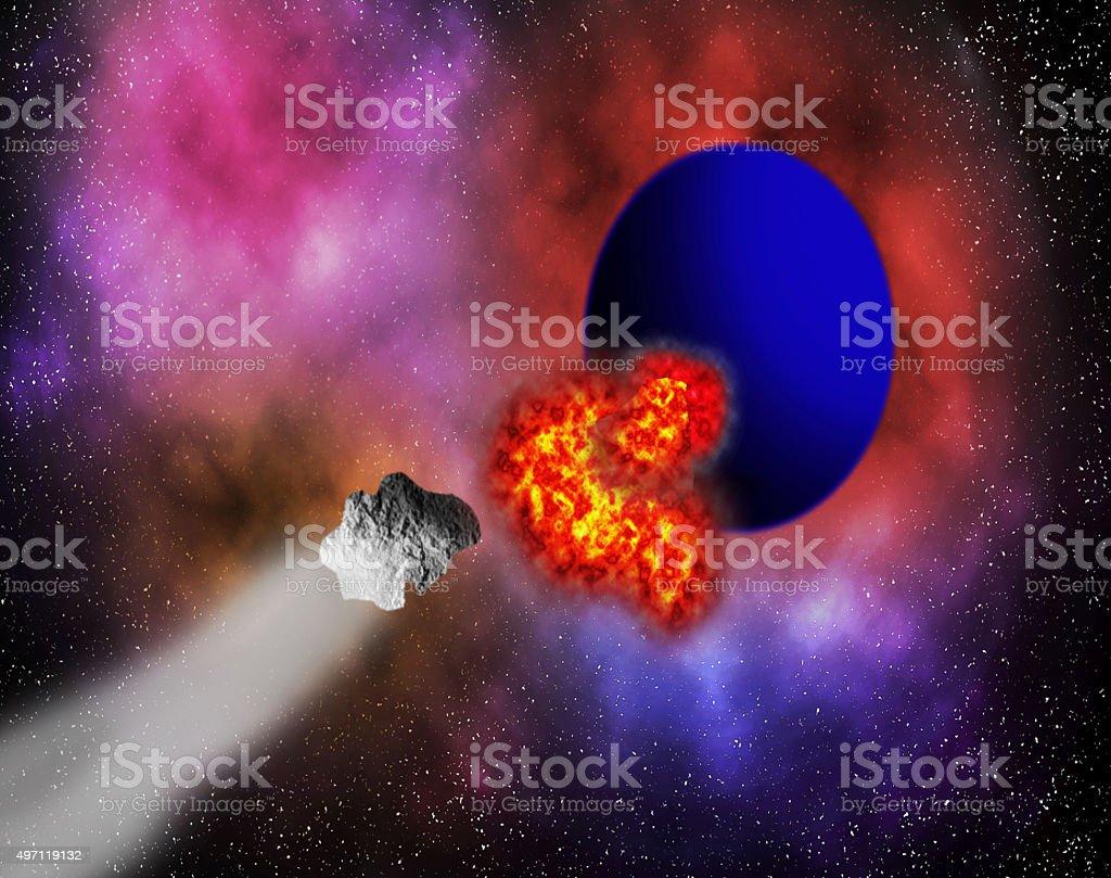 Asteroid strike. stock photo