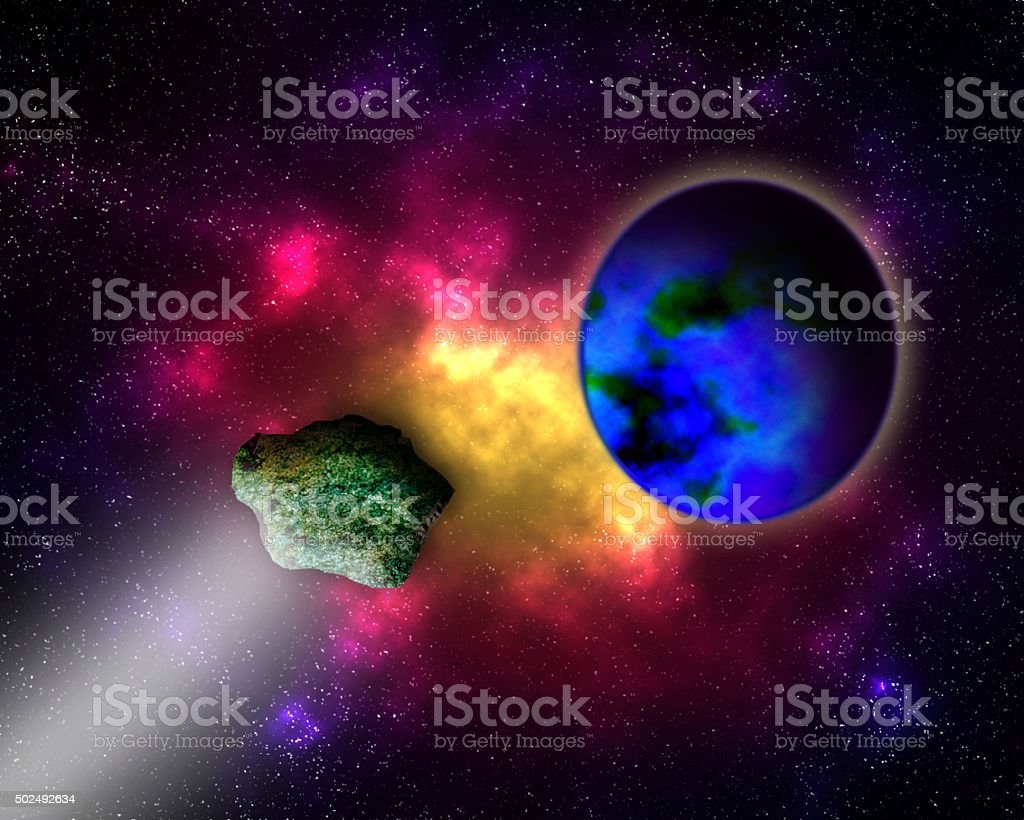 Asteroid strike. stock photo