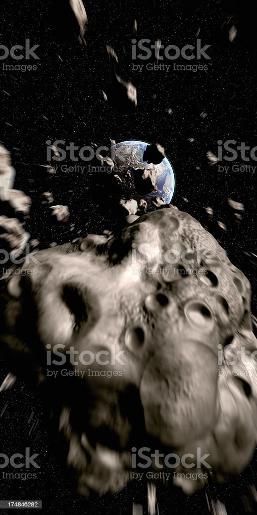 Asteroids Approaching Earth royalty-free stock photo