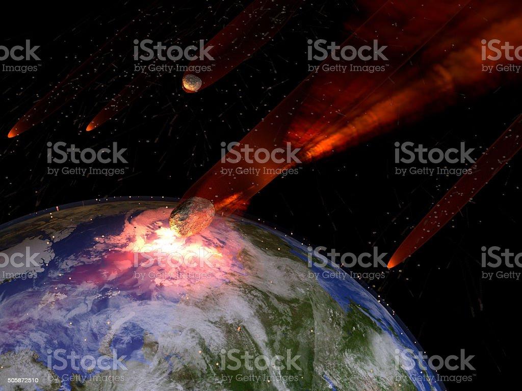 Asteroids Striking Earth stock photo