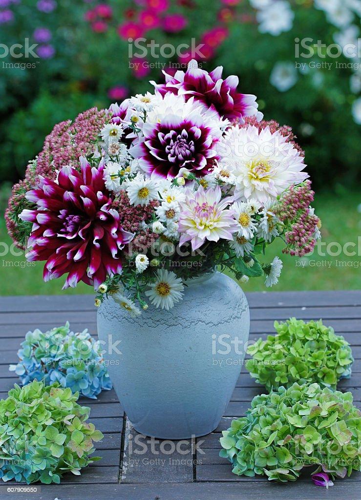 Asters, dahlias and sedum stock photo
