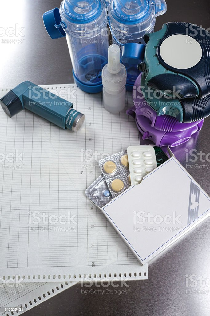 Asthma, allergy, illness relief concept, salbutamol inhalers and drugs stock photo