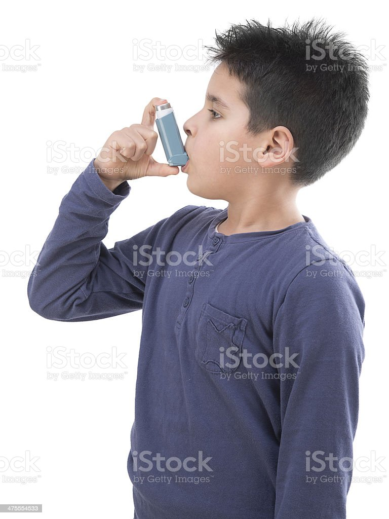 Asthma Child from Side stock photo