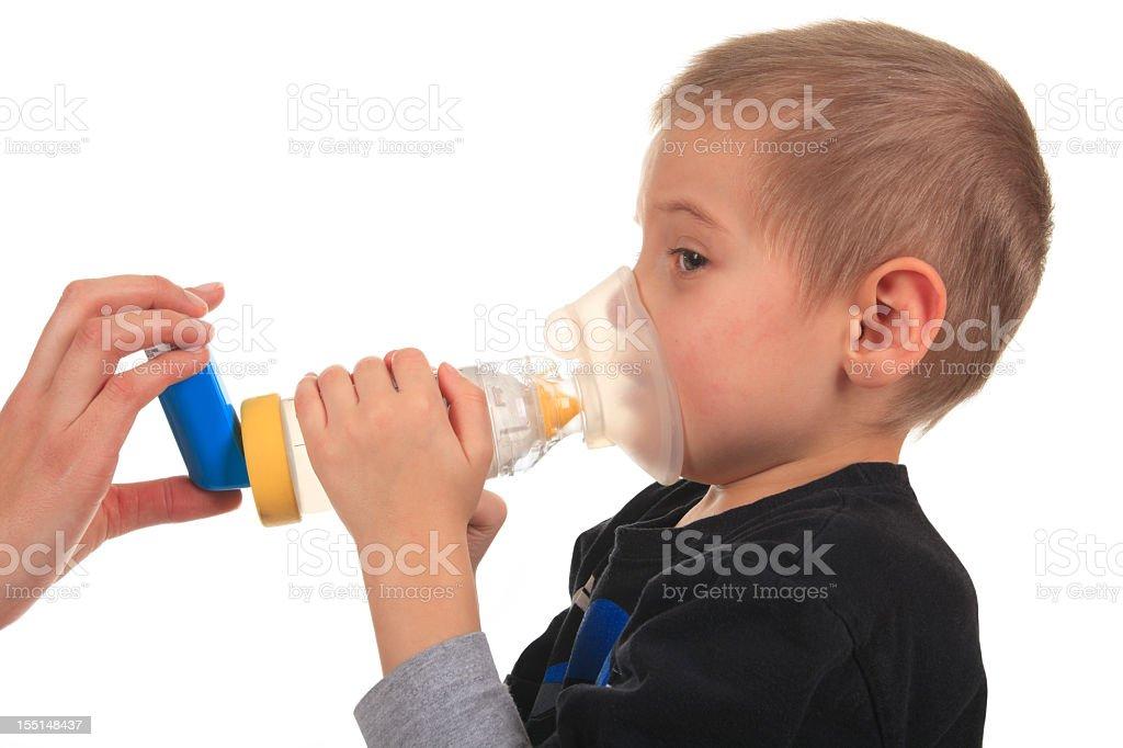 Asthma Holding Boy stock photo