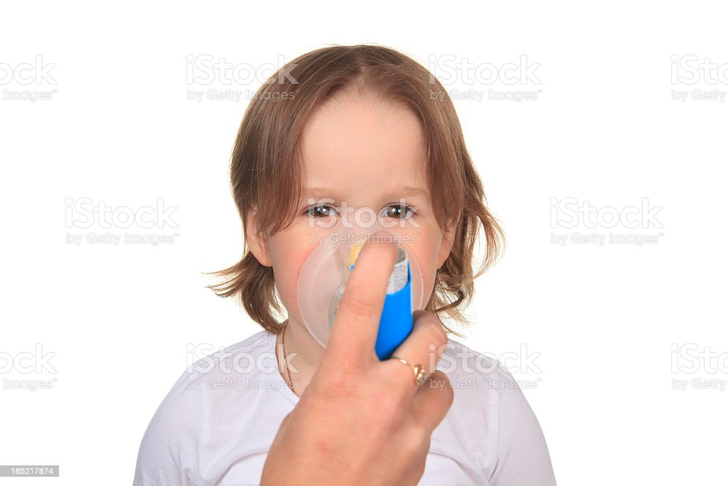 Asthma Little Girl royalty-free stock photo