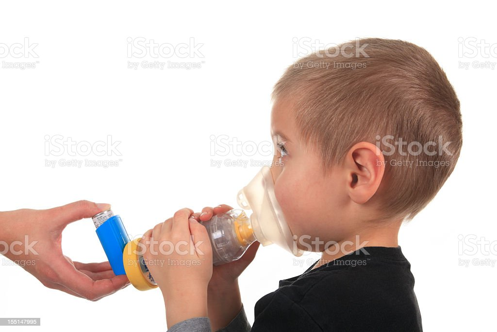 Asthma Young Boy stock photo