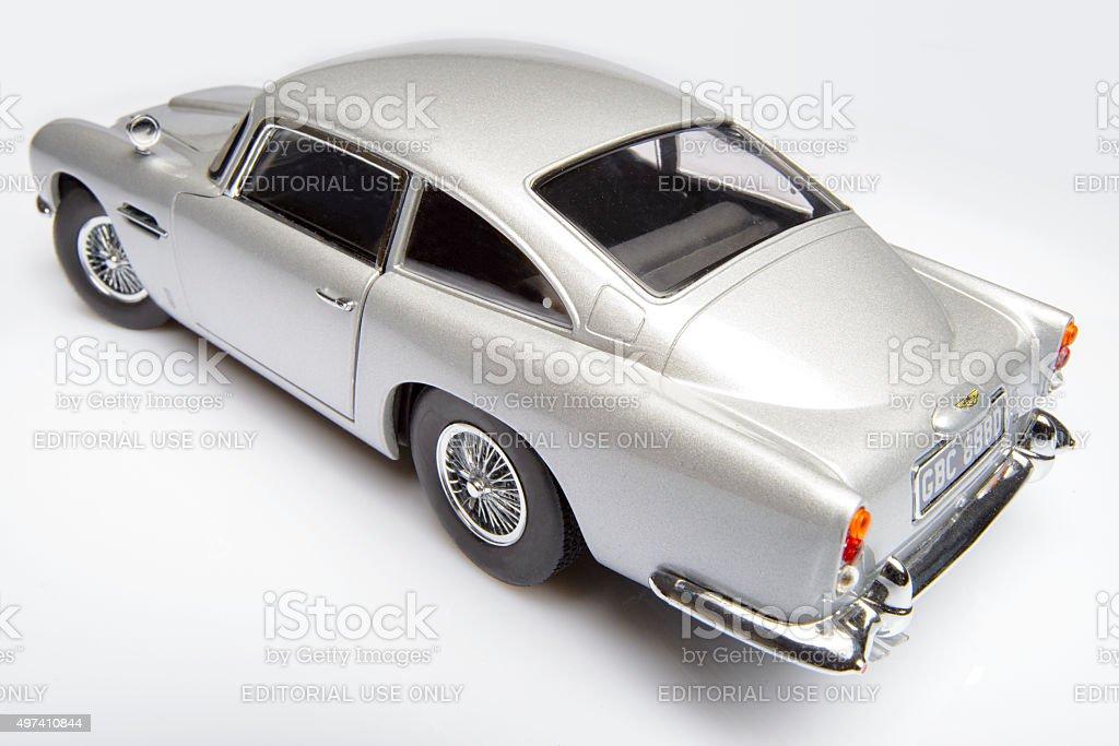 Aston Martin DB5 classic James Bond sports car model stock photo