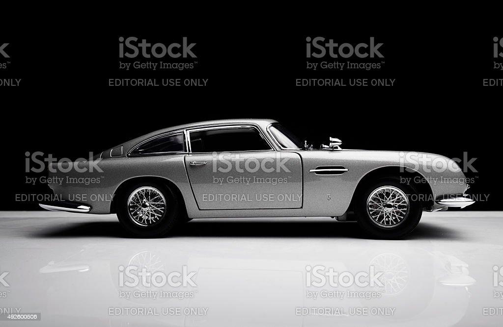 Aston Martin DB5 Model On Black stock photo