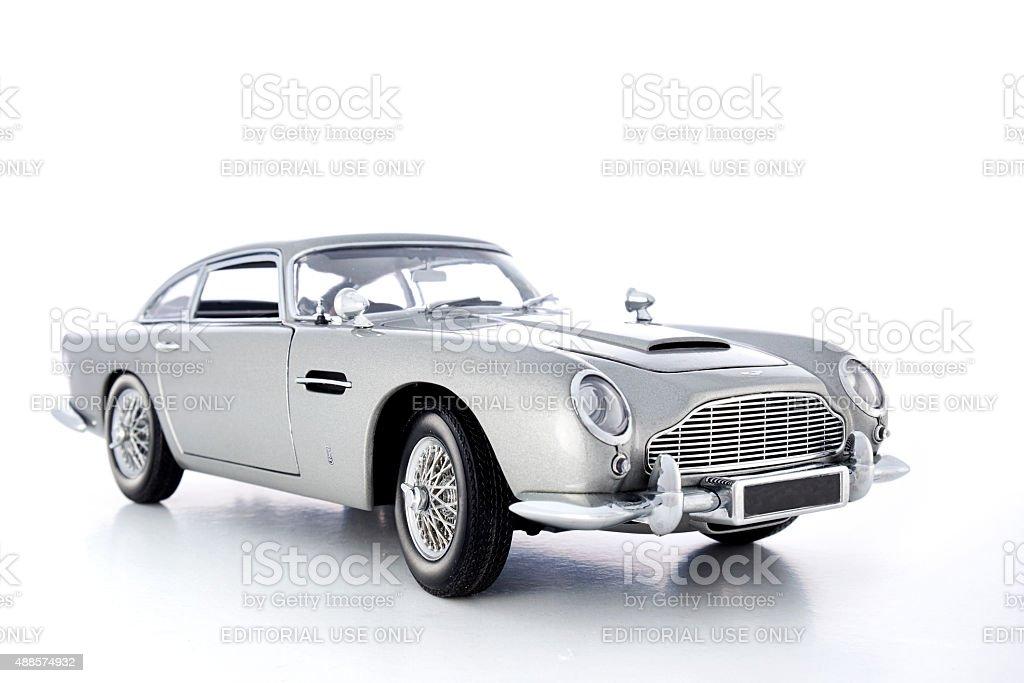 Aston Martin DB5 Model On White stock photo