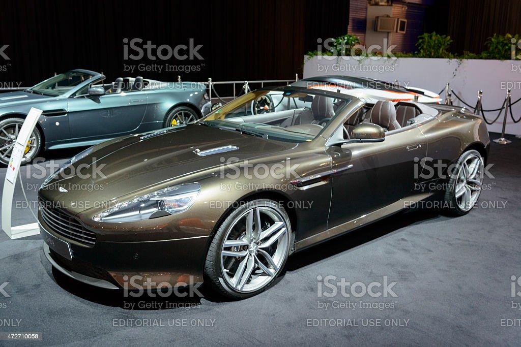 Aston Martin DB9 Volante convertible sports car front view stock photo