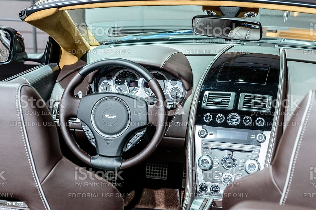 Aston Martin DB9 Volante convertible sports car interior stock photo