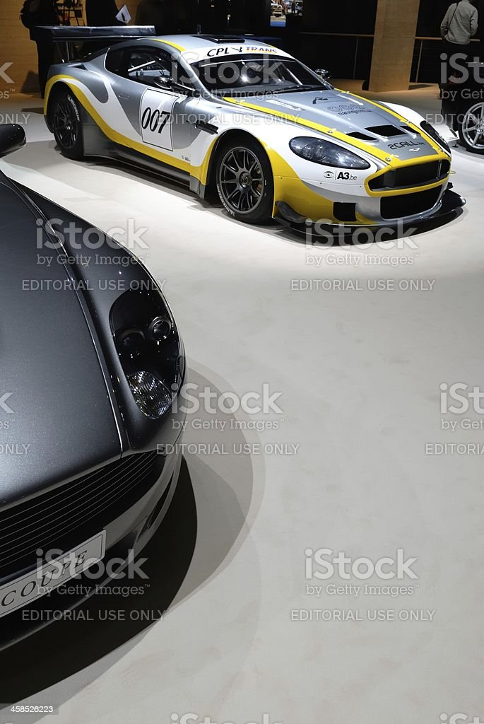 Aston Martin DBR9 race car and DB9 sports car stock photo