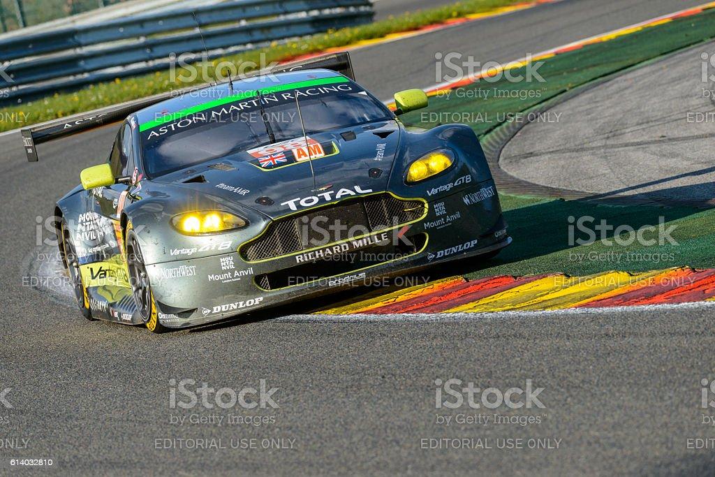 Aston Martin Racing Aston Martin Vantage V8 driving through Les...