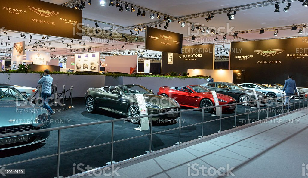 Aston Martin stand at the motor show stock photo