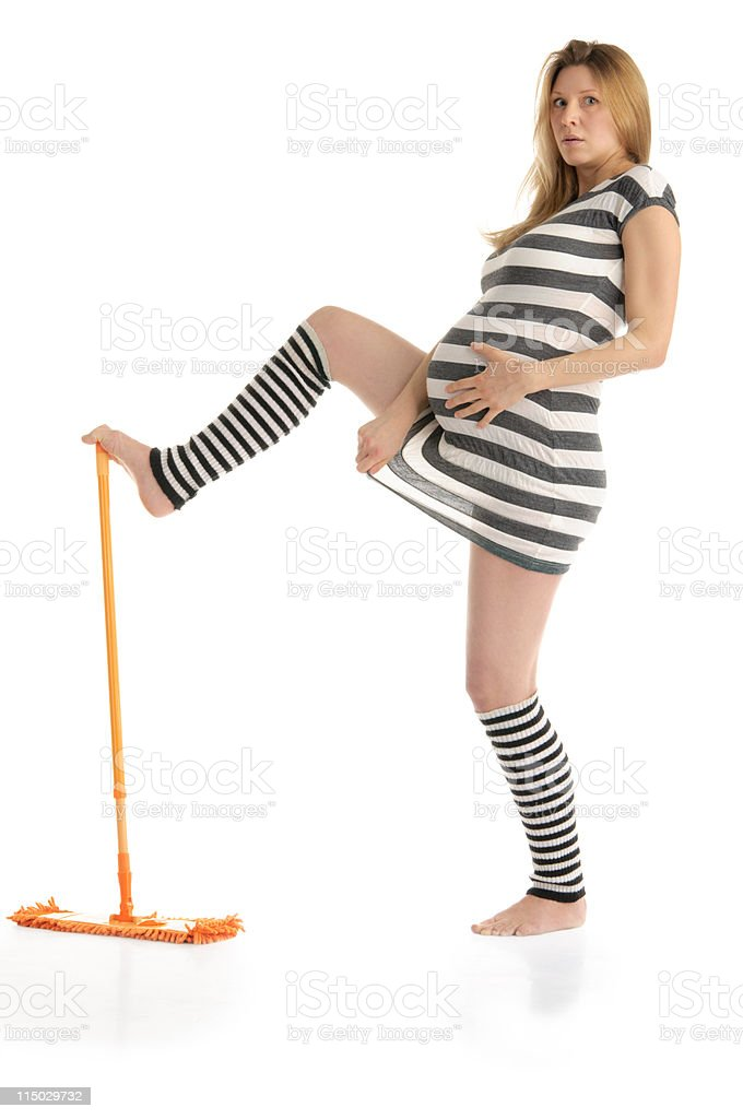 astonished pregnant woman with mop royalty-free stock photo